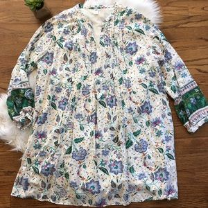 Old Navy White Floral Long Sleeve Tunic/Dress